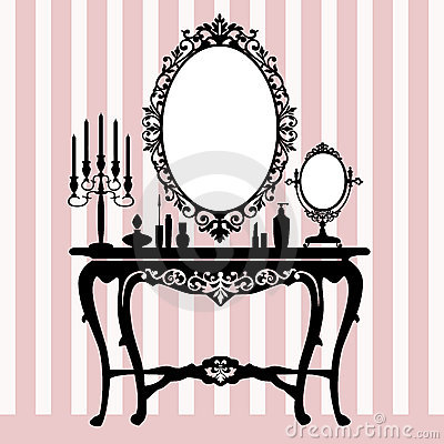 Free Retro Dressing Console, Candelabra And Mirror Royalty Free Stock Photography - 19317507