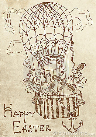 Retro Easter card with air Balloon