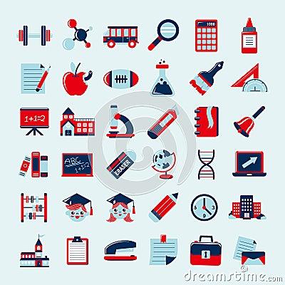 Retro education icons set,back to school