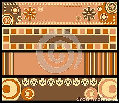 Retro- Fahnen [warme Farben]