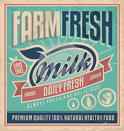 Retro farm fresh milk concept Retro farm fresh milk concept