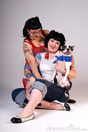 Retro fashion girls and dog.