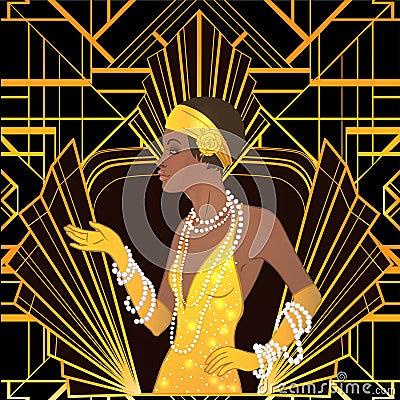 Free Retro Fashion: Glamour Girl Of Twenties African American Woman Royalty Free Stock Photo - 93019865