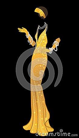 Free Retro Fashion: Glamour Girl Of Twenties (African American Woman) Royalty Free Stock Photos - 93020388