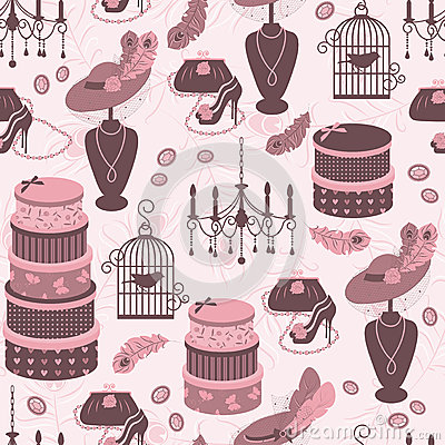 Retro fashion seamless  pattern  with women access