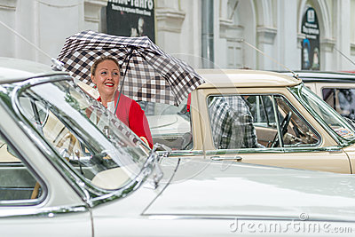 Retro festival  Days of history  in Moscow Editorial Stock Image