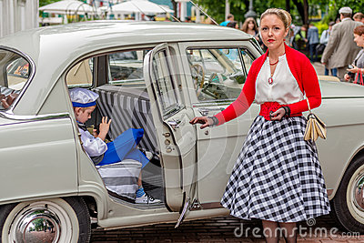 Retro festival  Days of history  in Moscow Editorial Photo