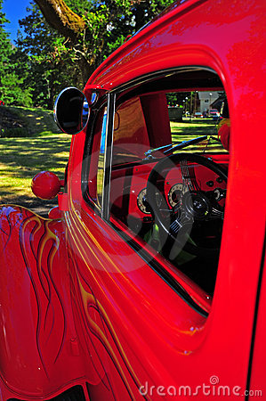 Retro flaming red truck drivers side mirror