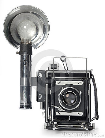 Free Retro Flash Camera Front View Royalty Free Stock Photography - 3753227