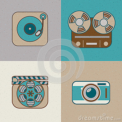 Retro flat arts icon