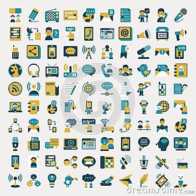 Retro flat communication icons set