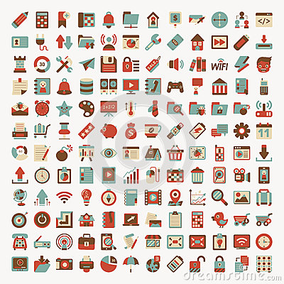 Retro flat network icon set