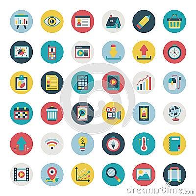 Retro flat web icon set