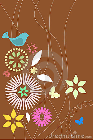 Retro flora and fauna wallpaper