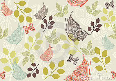 Retro floral background with butterfly in vector
