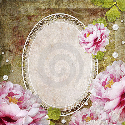 Retro floral background with frame and flowers