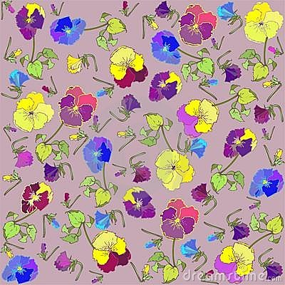 Retro floral background. Pansies.