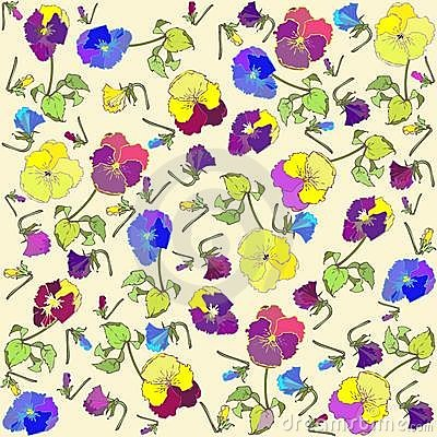 Retro floral background. Pansies