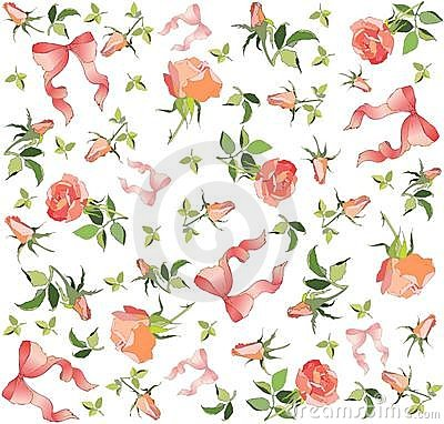 Retro floral background. Rose, bow.