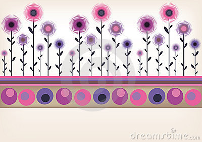 Retro floral border
