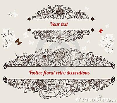 Retro floral frames