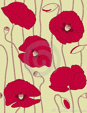 Retro floral seamless pattern, popies