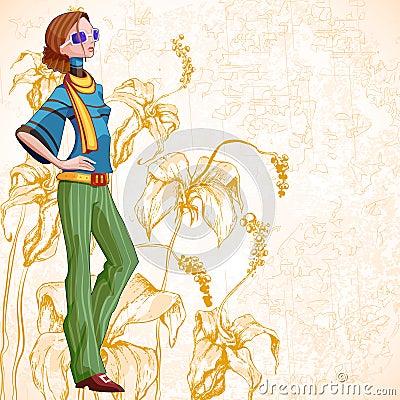 Retro Floral Woman