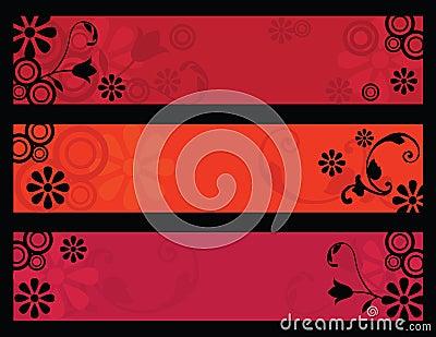Retro flower banners