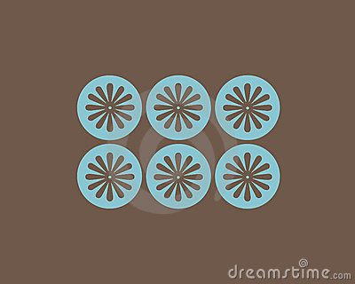 Retro flowers and circles background