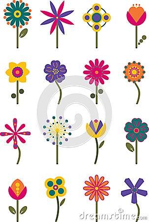 Retro Flowers Set 2