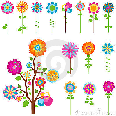 Free Retro Flowers Set Stock Images - 23347624
