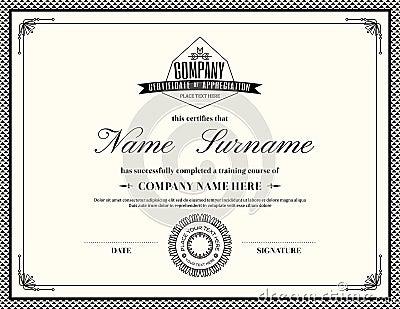 free cv template retro frame certificate appreciation design