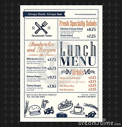 Free Retro Frame Restaurant Lunch Menu Design Stock Photo - 45815640