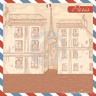 Retro France postcard on air mail frame background