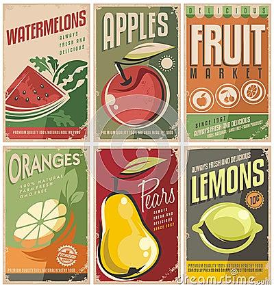 Retro fruit poster designs. Vector Illustration