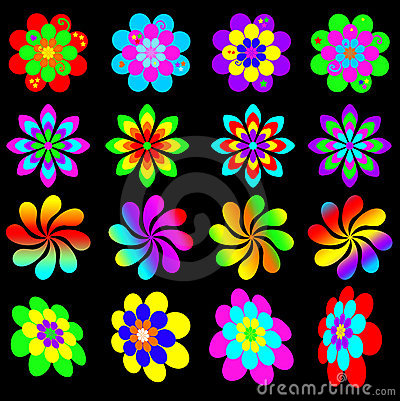 Free Retro Funky Flower Collection Stock Image - 19808081