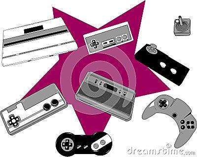 Retro game console and joysticks
