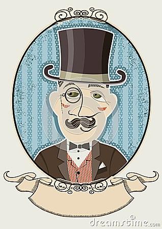 Retro gentleman portrait in a top black hat.Vector