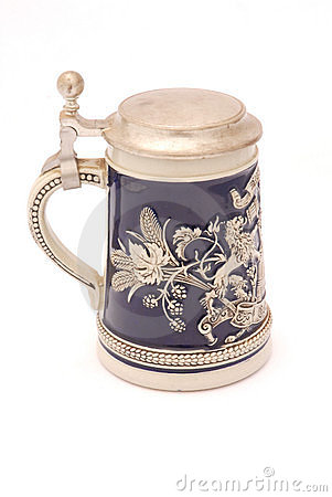 Retro German beer mug with lid