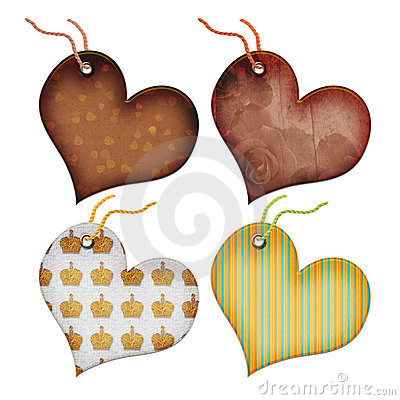 Free Retro Gift Tags In The Form Of Heart. Royalty Free Stock Image - 5902626
