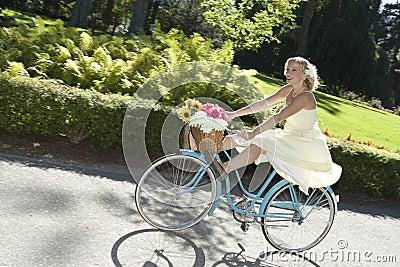 Retro Girl On Bike