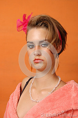 Retro girl in pink bathrobe
