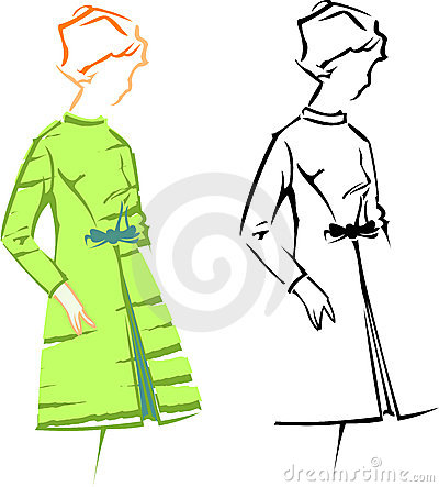 Retro Girl. Retro Fashion Vector Sketches.