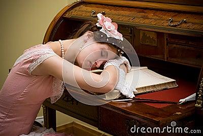 Retro girl sleeping