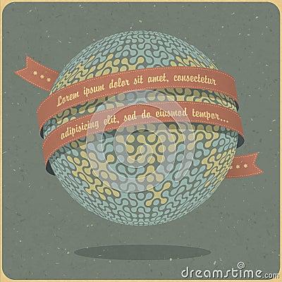 Retro globe symbol with ribbon