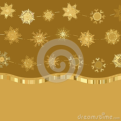 Retro gold Card Template with Snowflakes. EPS 8
