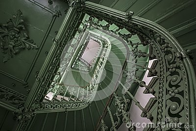 Retro, green staircase