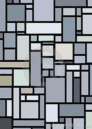 Retro Grey Block Mondrian Inspired Art