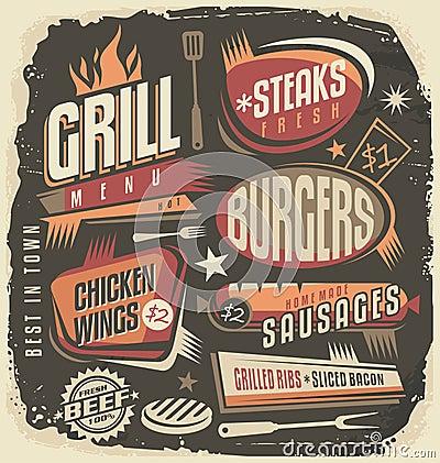 Retro grill menu design template Vector Illustration