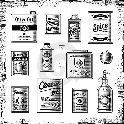 Retro grocery set black and white